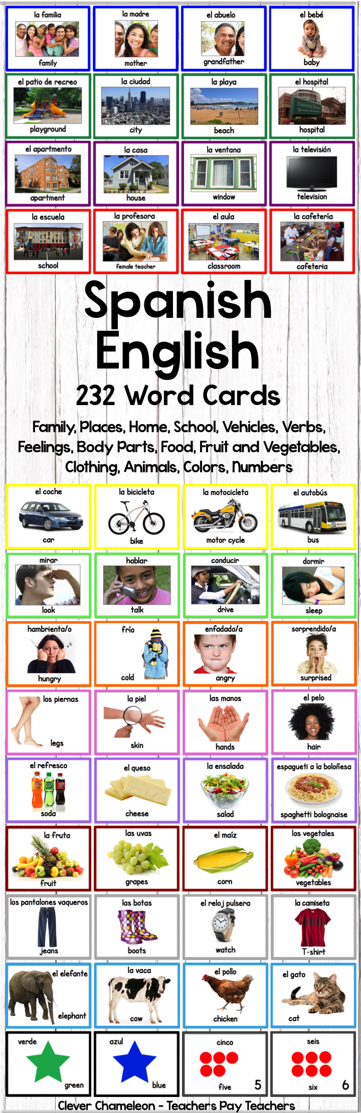 Spanish English Word Cards 232 Printable Cards In 14 Categories At Clever Chameleon Teachers Pay Teachers Word Cards Learning Spanish English Words [ 2220 x 720 Pixel ]