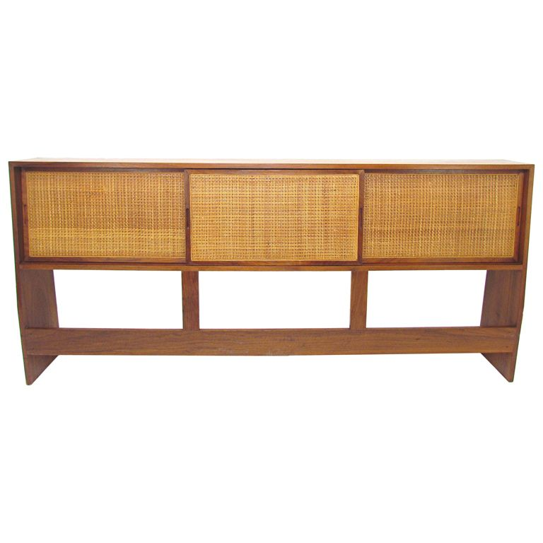 Mid-Century King Size Storage Headboard in Cane and Walnut