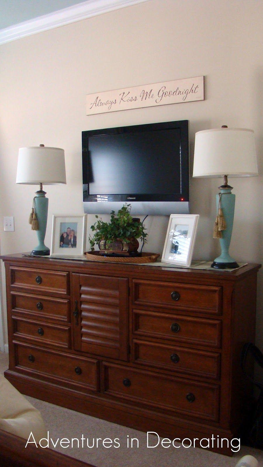 Mirror In The Bedroom Tv Above Dresser In Bedroom Great Idea Gotta Get Rid Of The