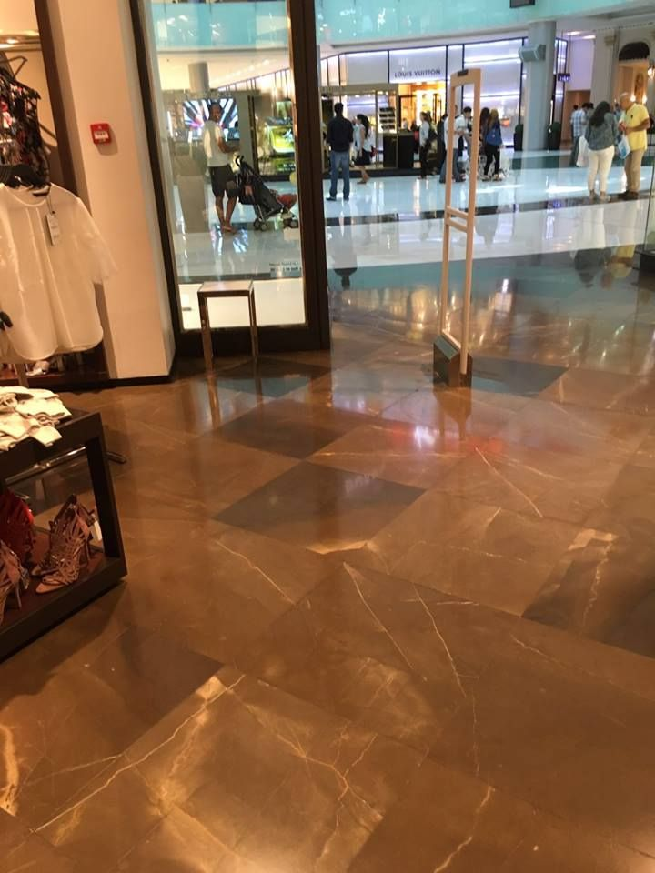 Due to the fact we were at Middle East Stone few days ago, we visited some international clothing chain stores designed with our #GrisPulpis #marble.