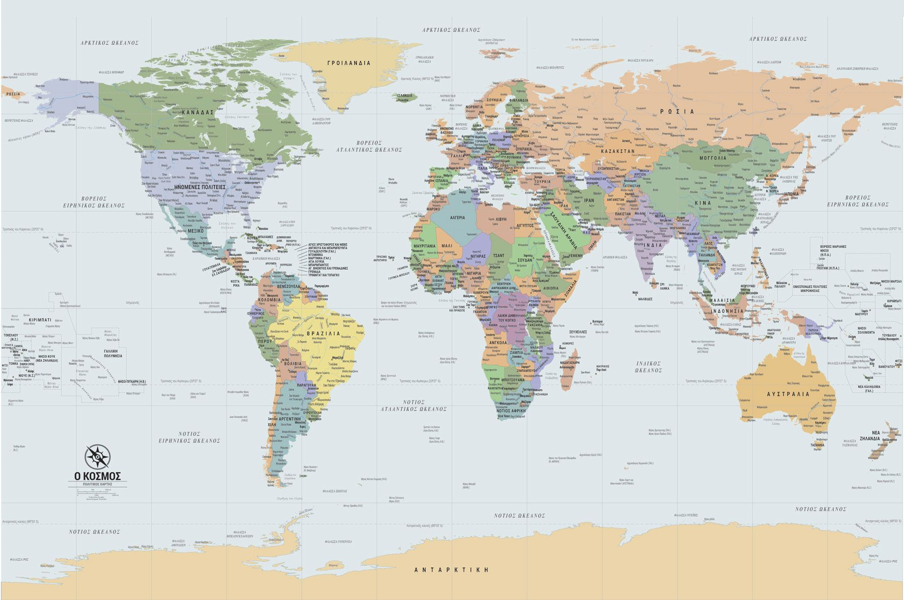 Pagkosmios Xarths Sta Ellhnika Gr918 Map World Map Wallpaper