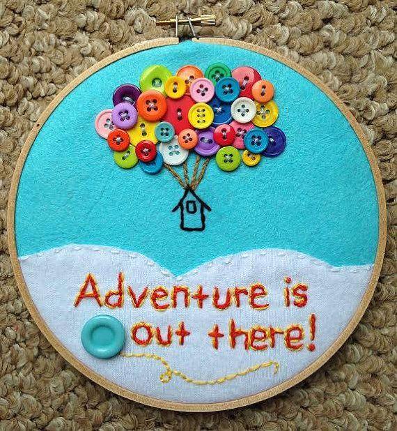 "Up-Inspired 7"" Inch Hoop Art - Disney/Pixar, Nursery Art, Playroom Art, Aqua blue decor, Buttons, Clouds, Adventure, Quotes"