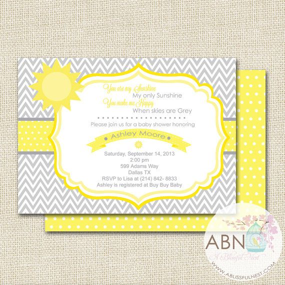 You Are My Sunshine Baby Shower Invitation By ABlissfulNestShop, $15.00