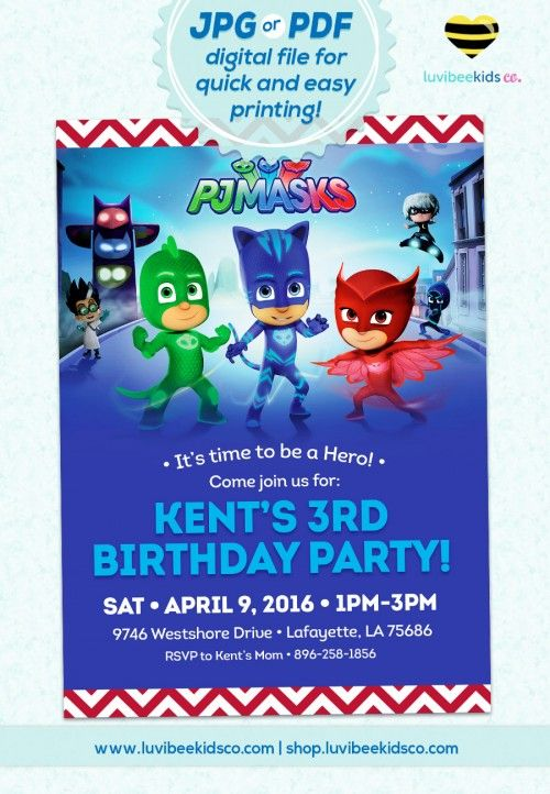 PJMasks Birthday Invitation