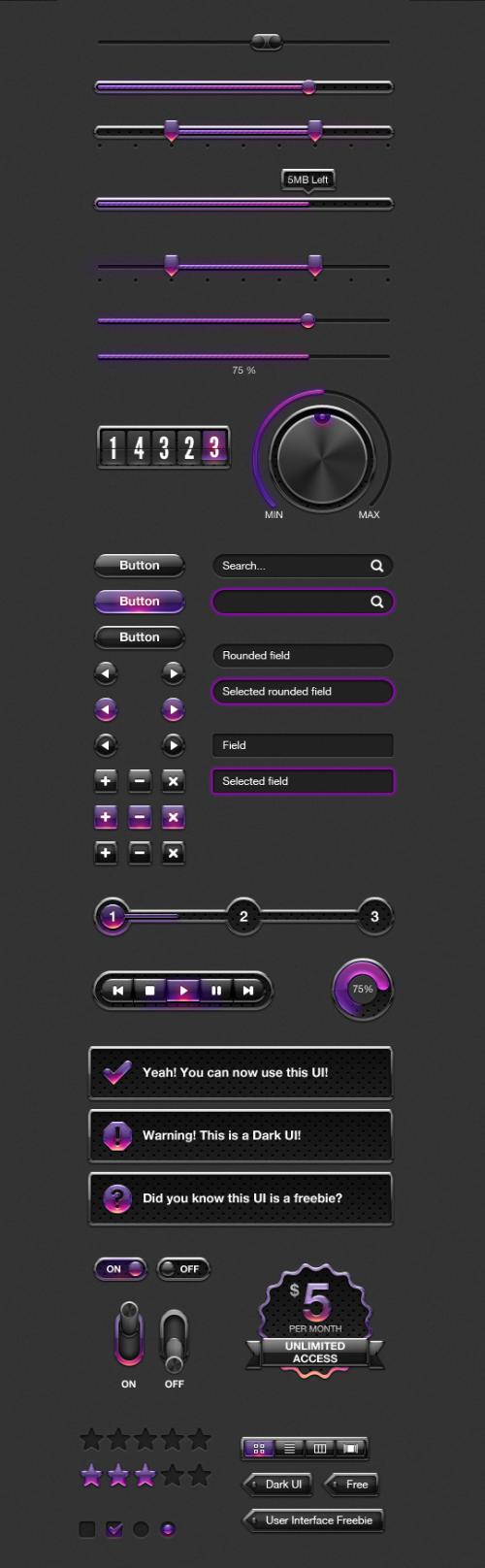 Nice Purple Web UI Elements Kit PSD freebie. Free Purple Web UI Elements Kit PSD…