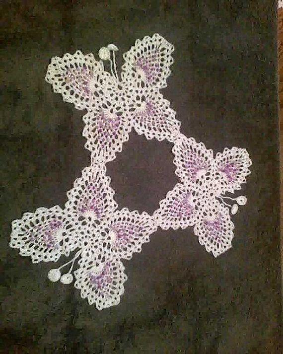 Butterfly white thread Crochet Purple Glass Beads by fancycrochet, $9.25