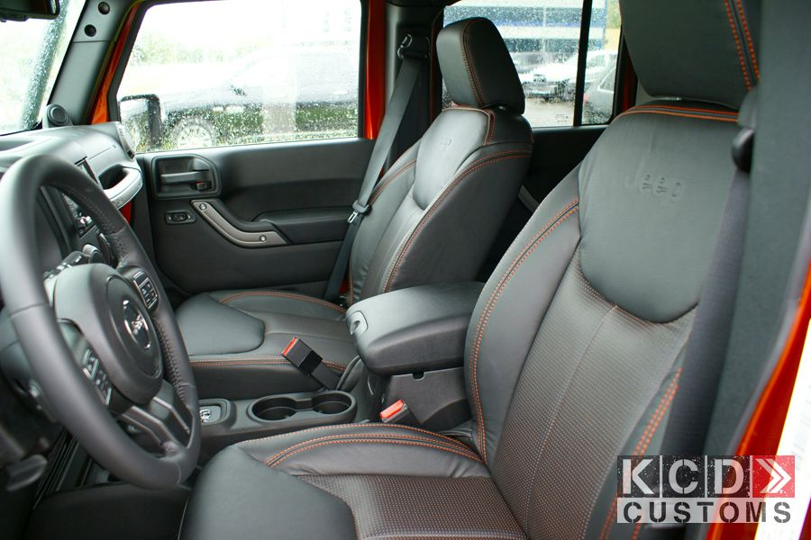 Jeep Wrangler Unlimited Cliffhanger With Custom Black Leather And Orange Stitching Seats Made