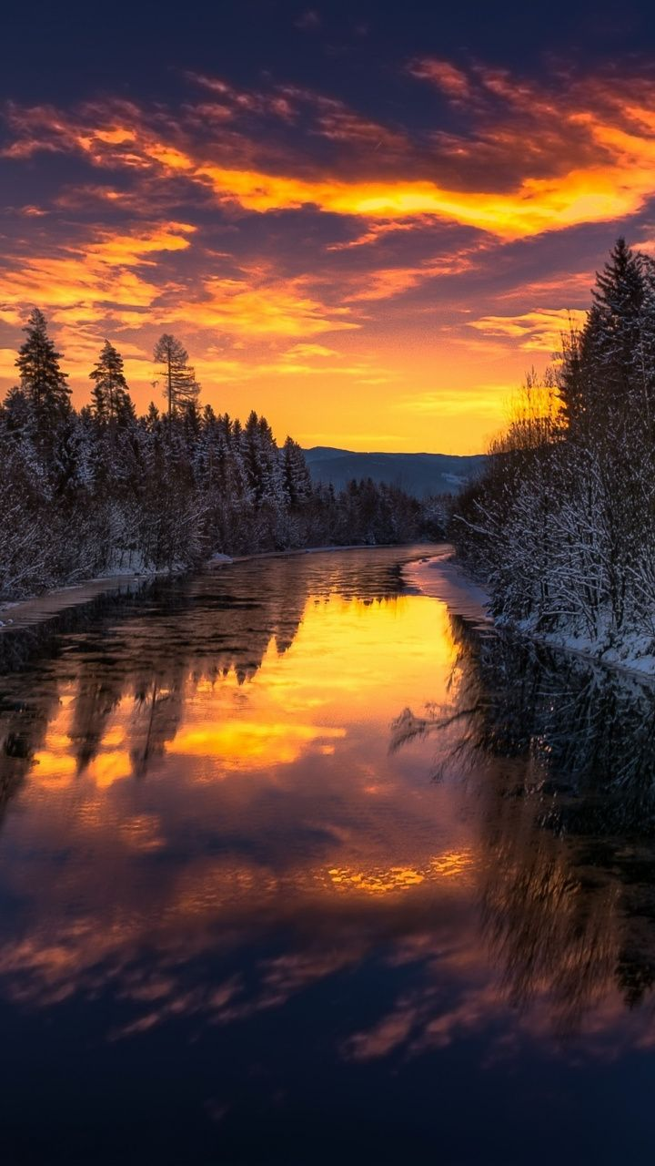 River, trees, winter, sunset, nature, 720×1280 wallpaper