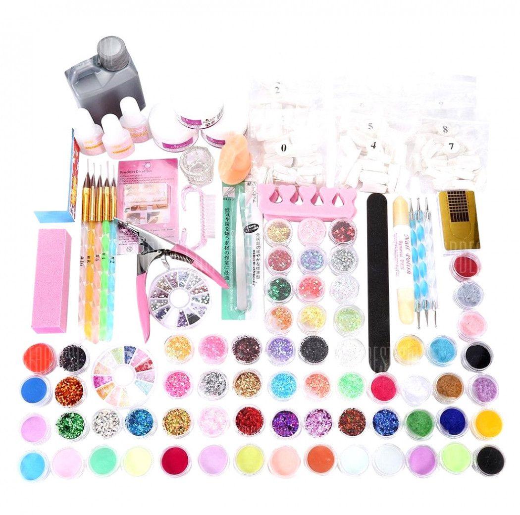 120ml Manicure Set DIY Acrylic Powder Liquid Glitter File ...