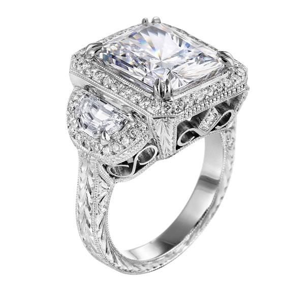 Engagement Ring Square Diamond Vintage Engagement Ring with Half