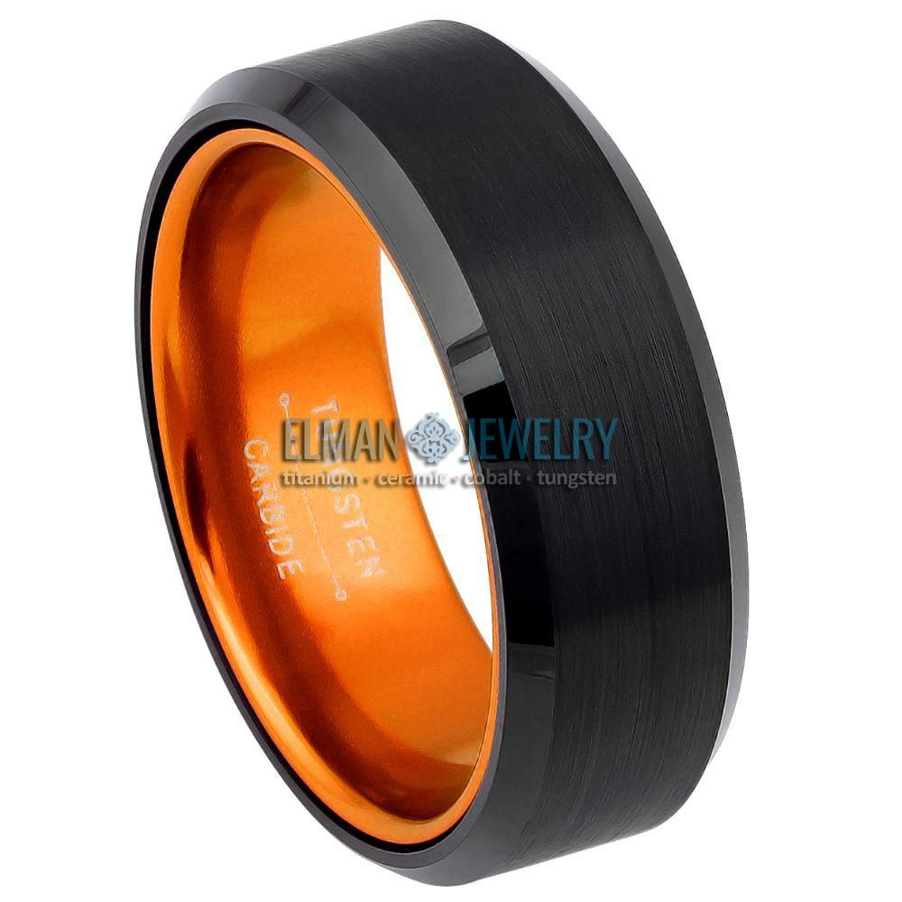 8mm Black Tungsten Carbide Ring with Orange Anodized