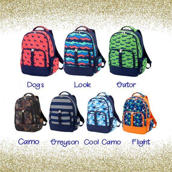 Monogrammed Boys School Backpack Travel Personalized Custom Book Bag Kids