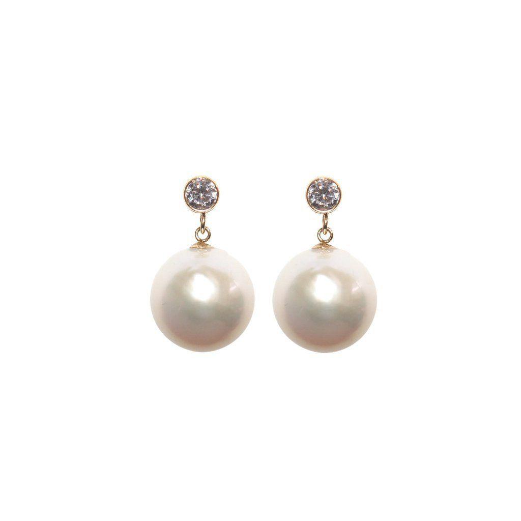 ORA Pearls 14kt Gold White Pearl Tear Drop Earrings lL7jlBM