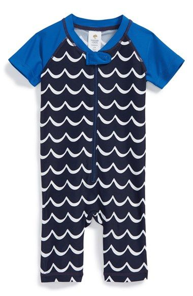 a635a247d143 Free shipping and returns on Tucker + Tate Rashguard Romper (Baby) at  Nordstrom.com. A rashguard romper wrapped in stripes features a zippered  placket.