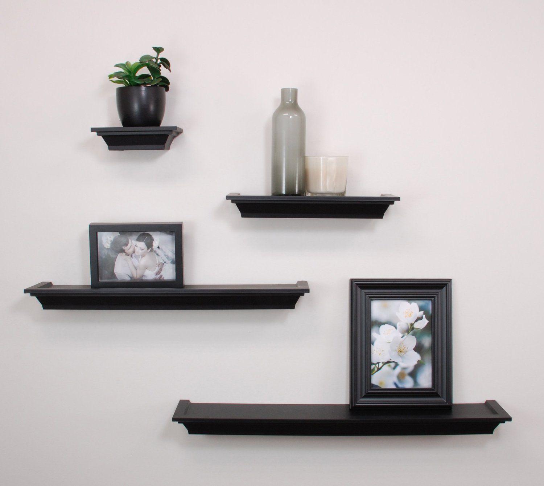 Amazon com nexxt classic 4 piece multilength ledge shelving black floating shelves
