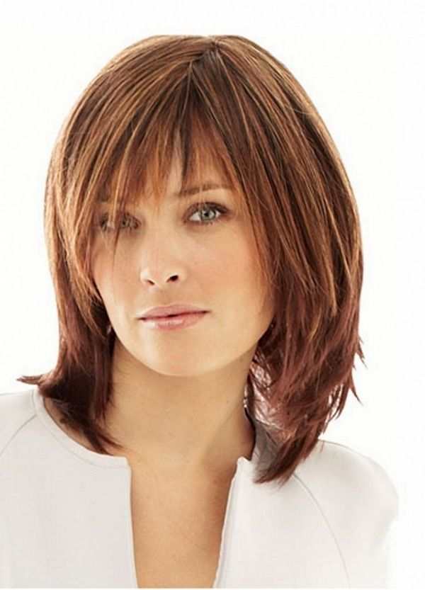 Stylish Bob With Bangs For Shoulder Length Hair Highlights