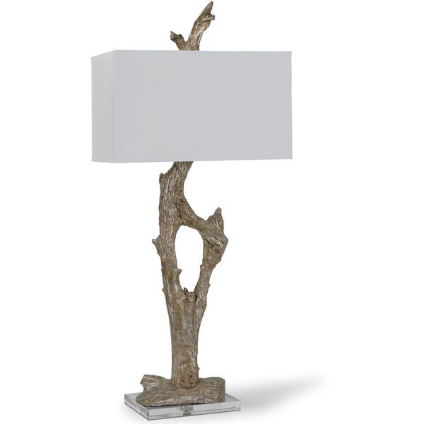 Francie Coastal Beach Silver Amber Driftwood Table Lamp Featuring Polyvore Home Lighting