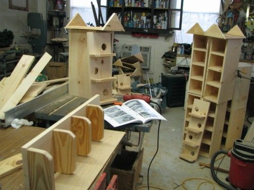 Out T 14 Houses Being Built In Our Cottage Craft Work Shop Purple Martin House Purple Martin House Plans Purple Martin
