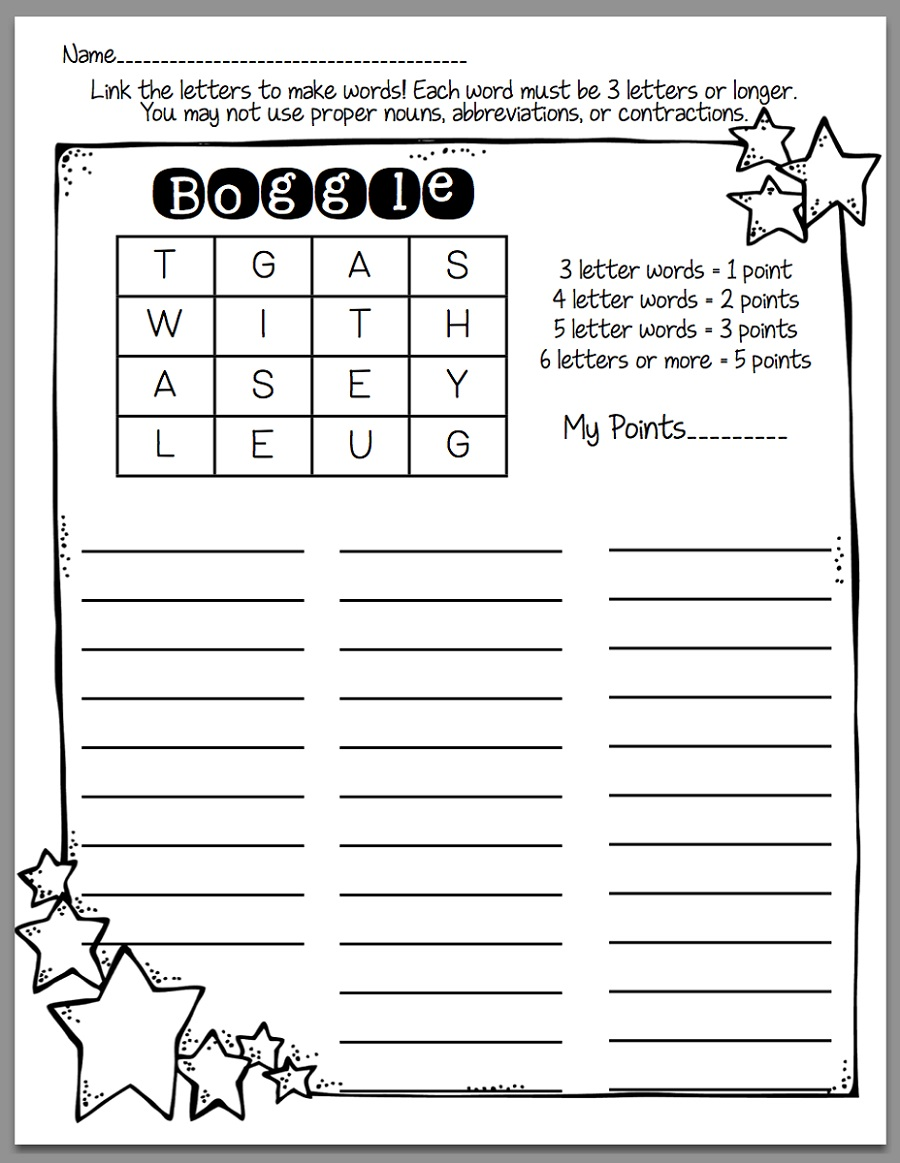 Boggle Puzzle For Kids Word Games For Kids Printable Word Games Word Games [ 1163 x 900 Pixel ]