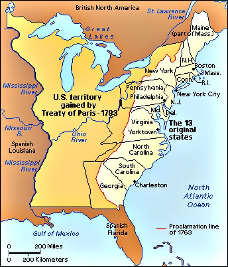 In The Treaty Of Paris Britain Ceded All Lands West Of The - Map of us east of mississippi river