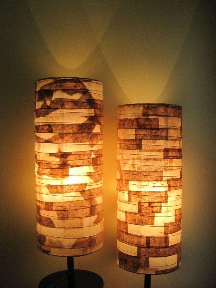 Lampenschrim Basteln Patchwork Papier Stueck Stehlampe Leuchte