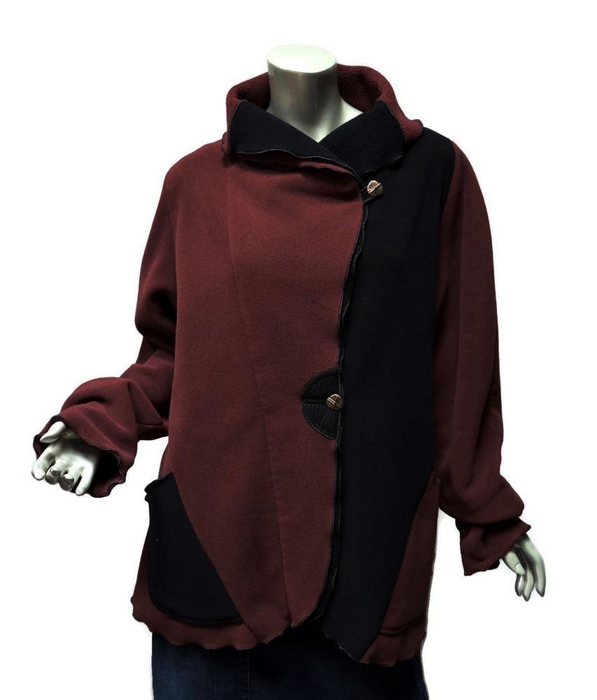 New Red Rover Saturn Jacket Sz L Brown Black Artsy Polartec Cindy Walsh NWT #RedRover #BasicJacket #CindyWalsh #Colorblock #Polartec #SaturnJacket Wonderful creation from Red Rover in cozy Polartec with a layering, A-line fit.