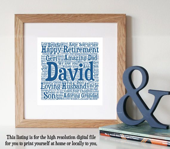 Personalised Retirement Gift Word Art Printable By
