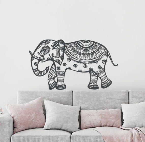 Elephant Wall Decal Elephant Wall Art Yoga Wall Decals Indie Wall Art Bedroom Dorm Nursery Boho Bohemian Elephant