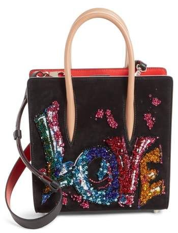 Christian Louboutin Small Paloma Love Beaded Leather Tote  658f21fdc7bd9