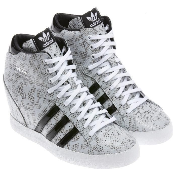 Adidas Originals Basket Profi Up Snakeskin Print Leather Wedge Heel Womens  Raw White Black
