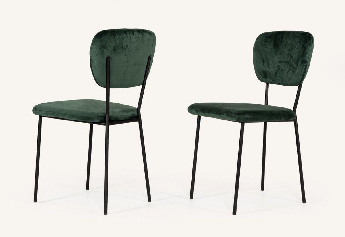 Modrest Billy Modern Green Velvet Dining Chair Set Of 2 Dining
