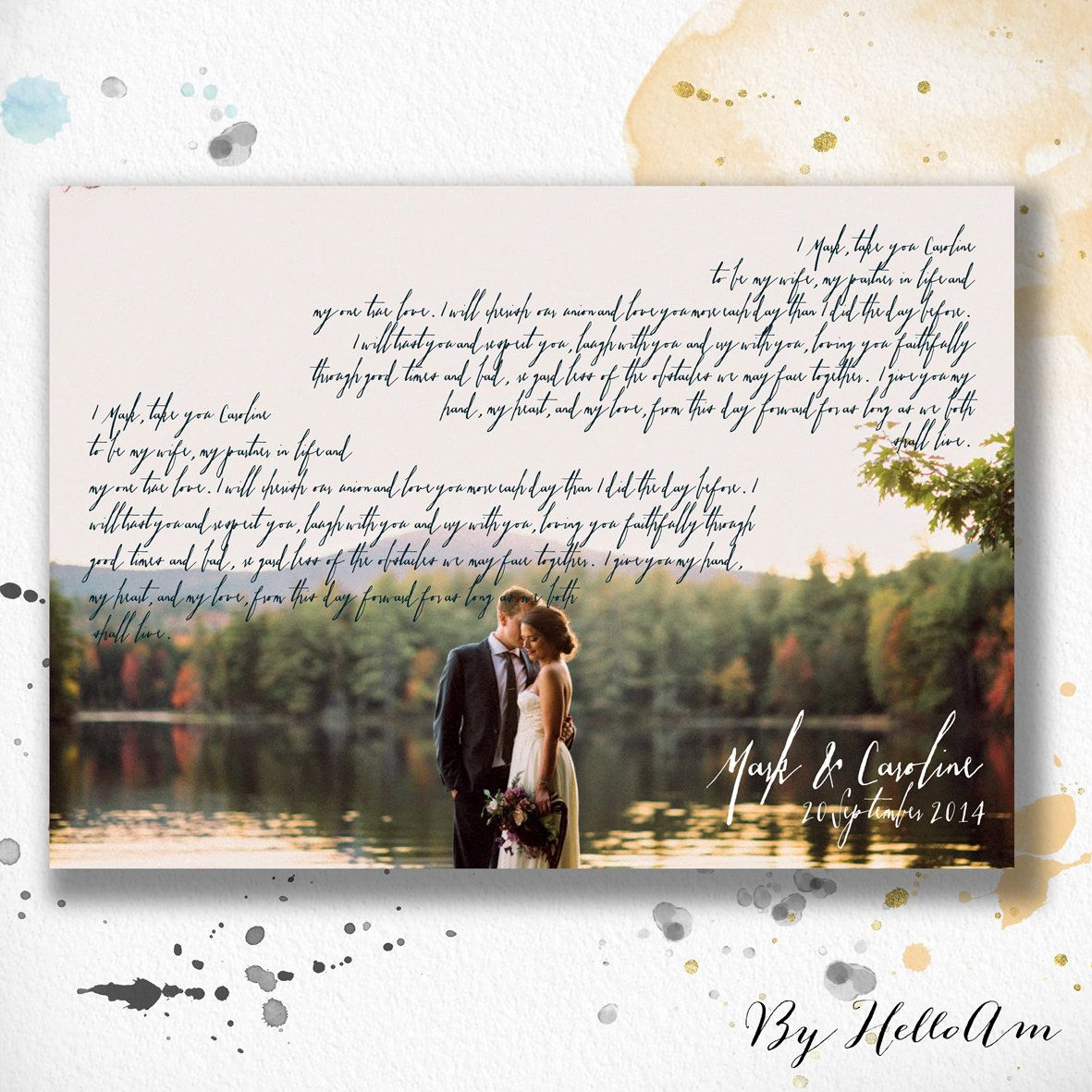 1st Anniversary Gift A Personalized Wedding Vows With Calligraphy Art On Your Photo This Lovely Wall Hanging Can Be