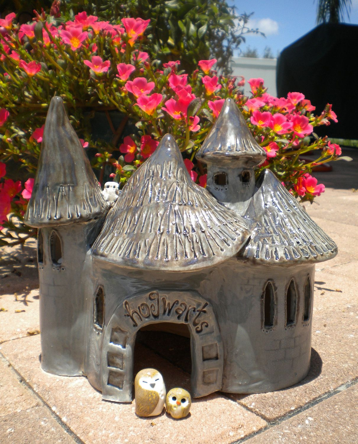 Hogwarts Castle Kiln Fired Clay Pet House by Calico Owls