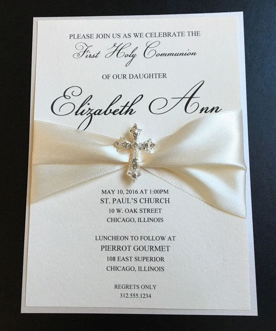 Cream Embellished Luxury First Communion Invitation Baptism - ivory resume paper