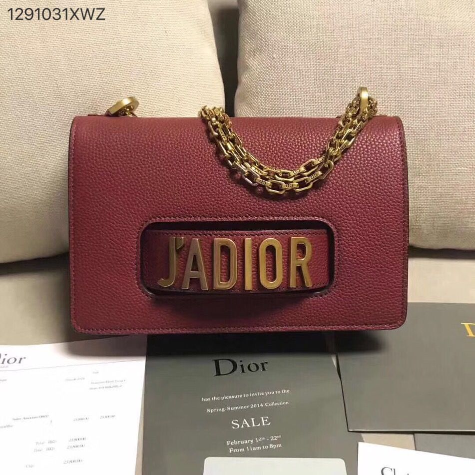 Christian Dior CD jadior chain flap shoulder bag clutch purse grainy  leather burgundy 2df6810e6e1f0