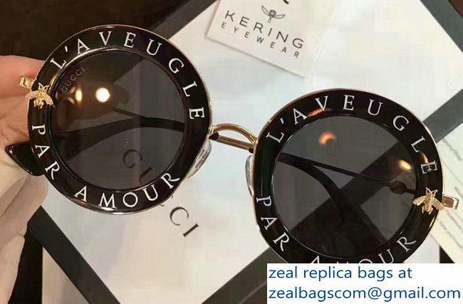 4d3ce0c3afa Gucci L  Aveugle Par Amour Round Frame Metal Bee Detail Sunglasses 470459  Black 2017
