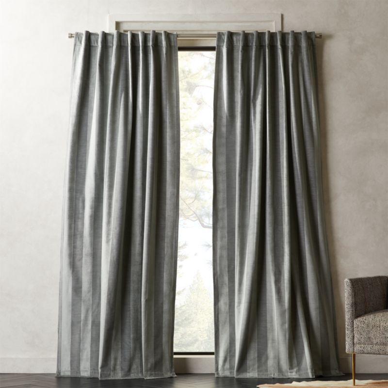 Grey Stripe Velvet Curtain Panel Panel Curtains Velvet Curtains Curtains
