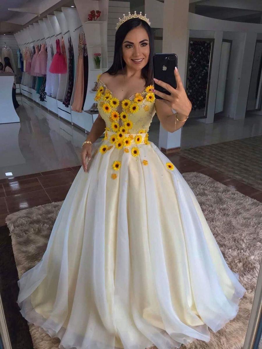 Sunflower Wedding Dress 15 Vestidos Vestidos Veztido De Noiva [ 1200 x 900 Pixel ]