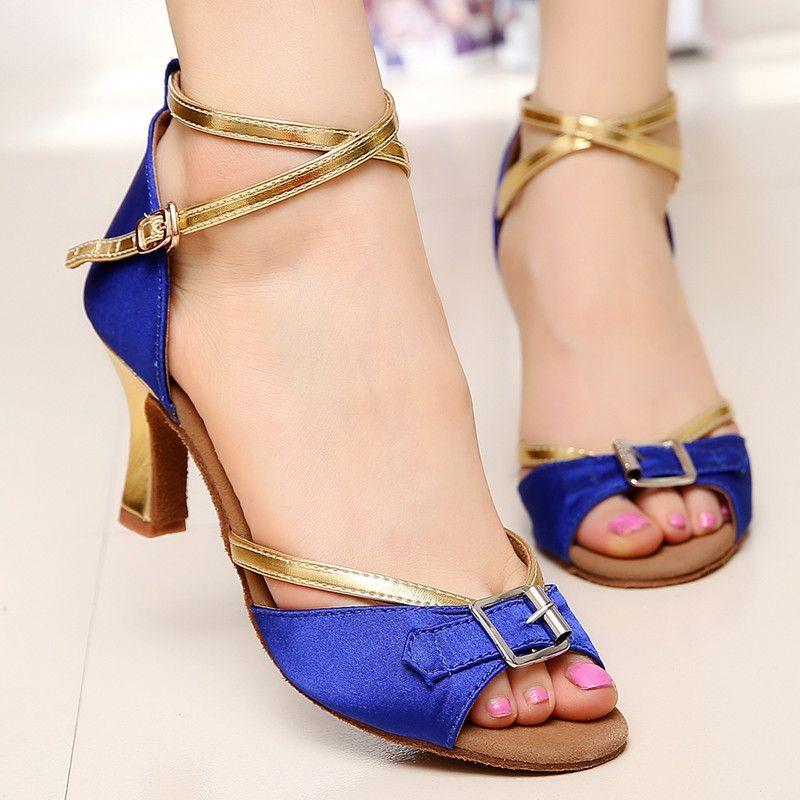 Pas cher Femmes fille sandales satin boucle de salon / Salsa / chaussures  de danse latine à talons hauts noir / bleu livraison gratuite, Acheter  Chaussures ...