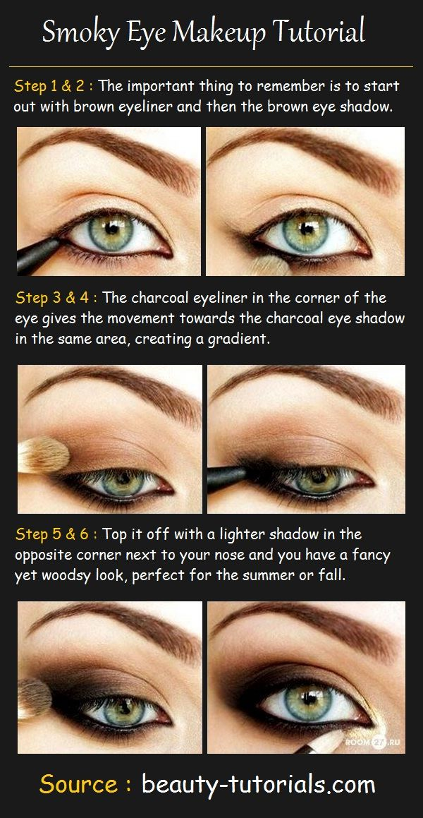 Smoky Eye Makeup Tutorial Products Needed: Dark brown eyeliner ...