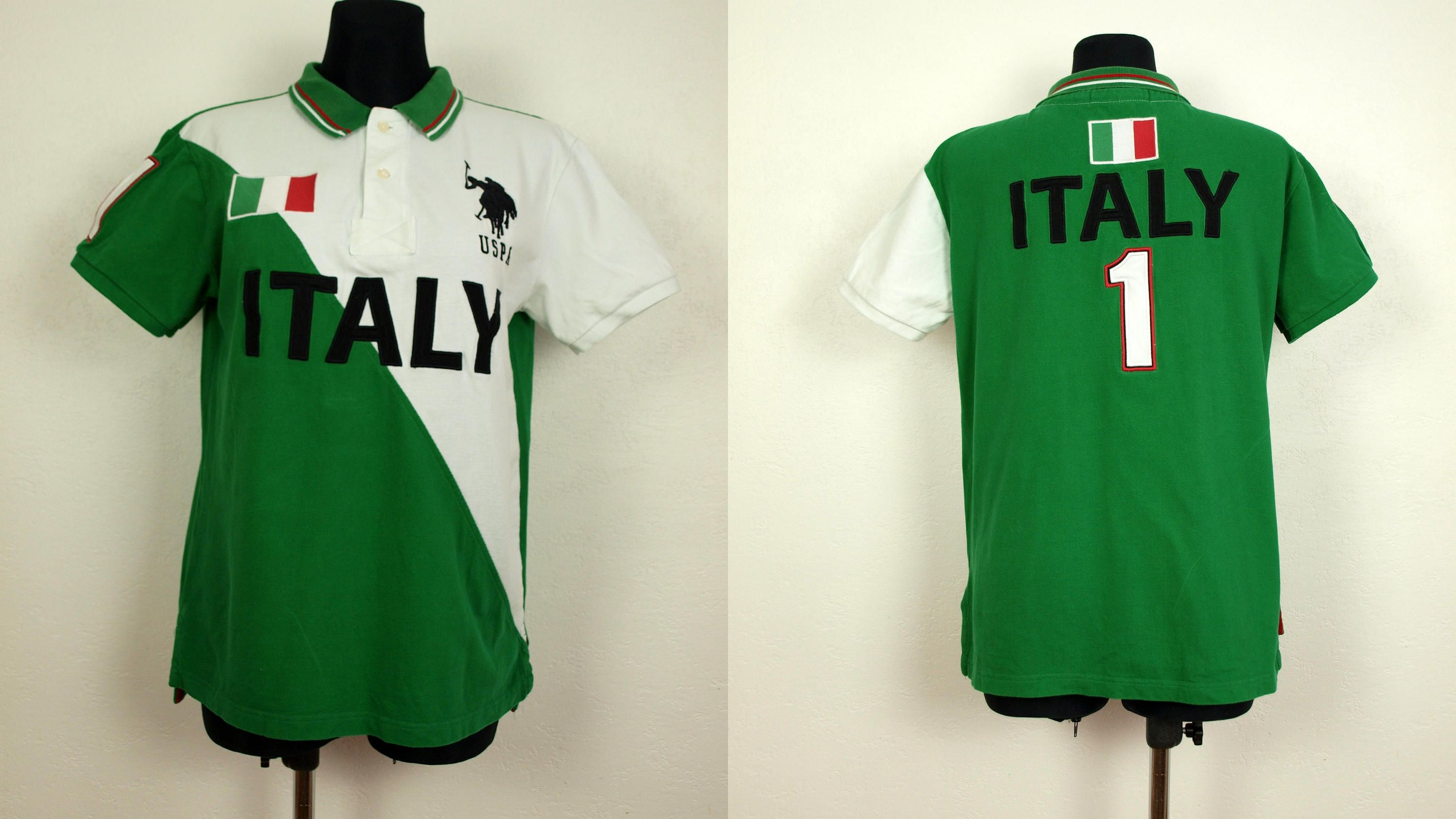 Uspa Polo Shirt Italy Pattern Polo Shirt Green And White Polo
