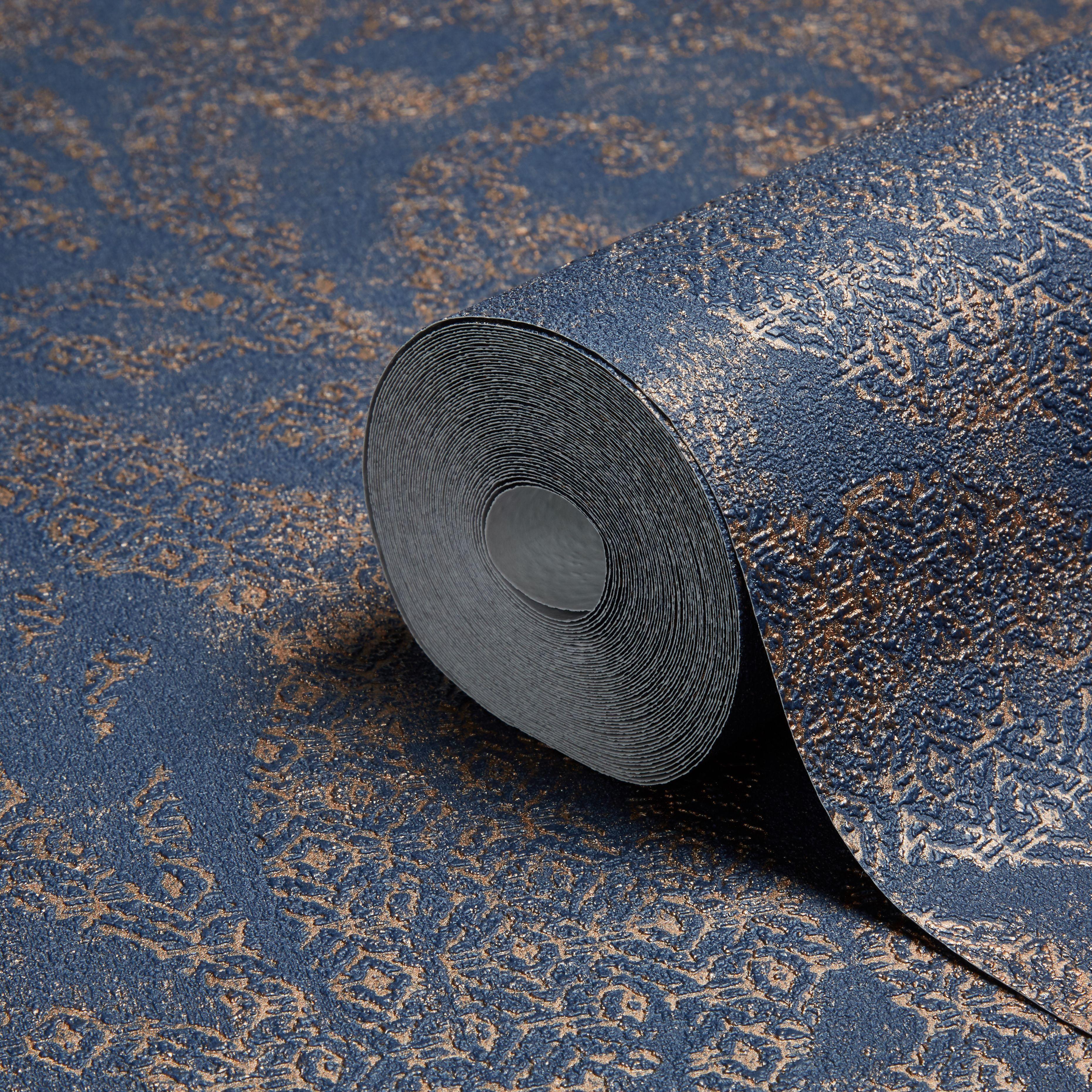 Bohemian Burlesque Blue & Bronze Large Damask Metallic