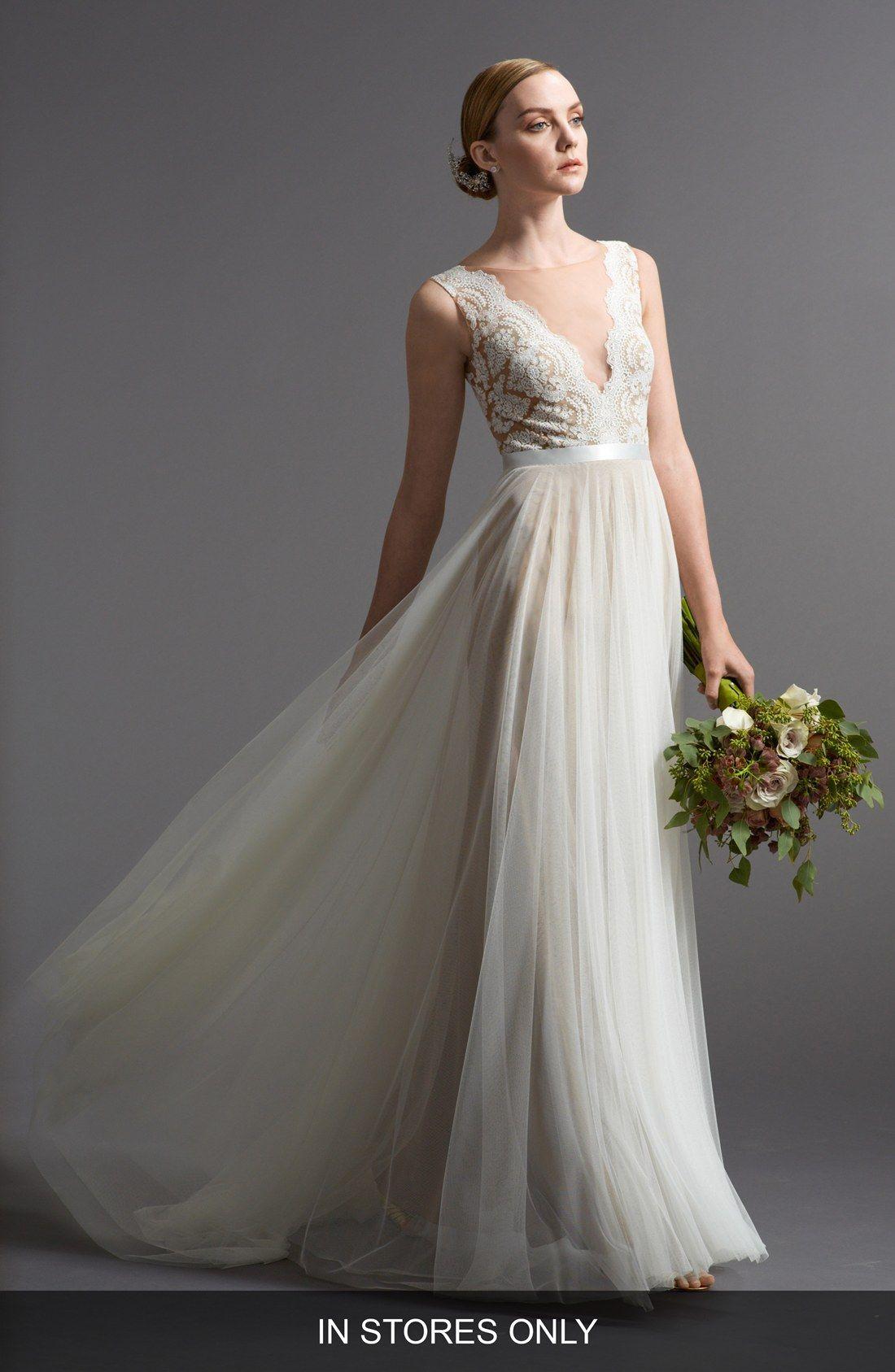 Santina Lace Bodice A Line Gown