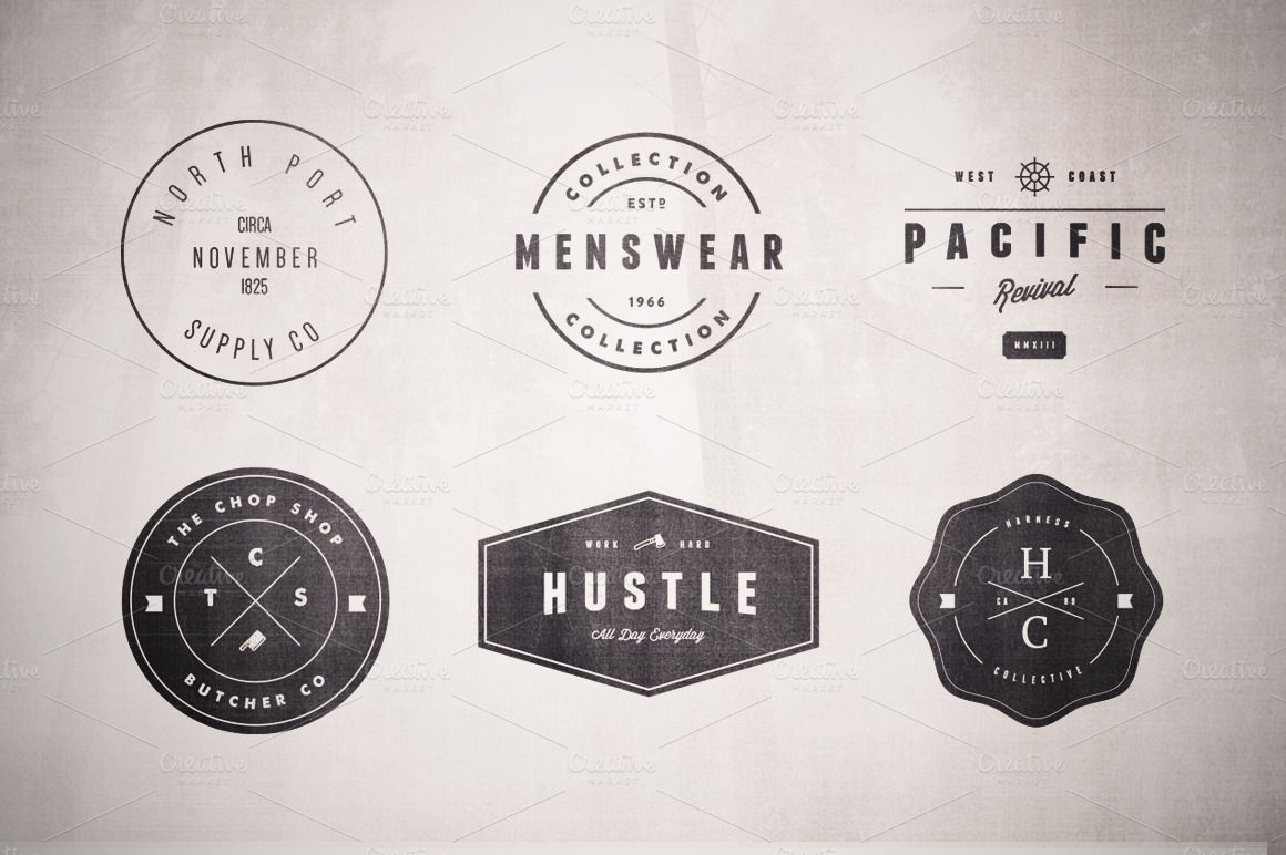 gs 0343 series sample resume%0A Vintage Logo Set  Volume Two by Hustle Supply Co  on Creative Market