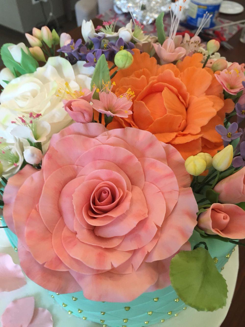 Mint green flower bouquet cake - pink rose | My cakes | Pinterest ...