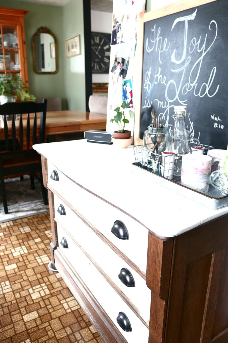 Diy dresser makeover from living room storage to kitchen pantry