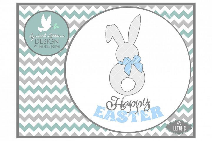 Happy Easter Bunny Silhouette With Tail Cutting File LlC Svg