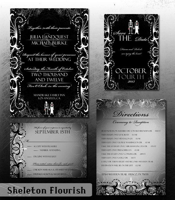 Awesome wedding invite printables for the offbeat or goth bride – Halloween Wedding Save the Dates