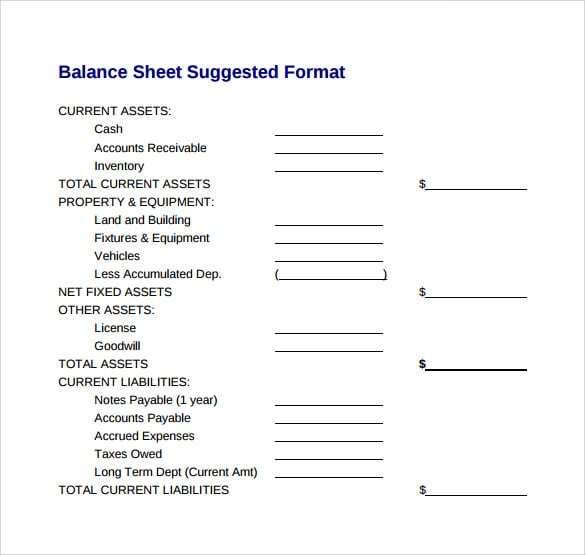 What is a balance sheet and how is it used? Balance Sheet Pdf Template