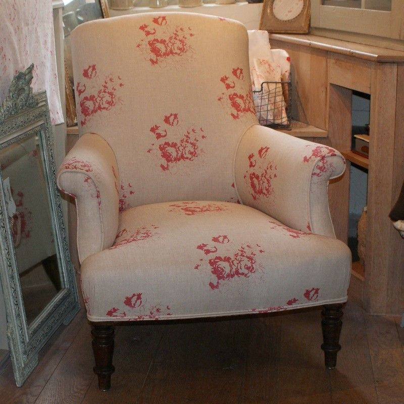 Antique French Armchair Reupholstered In Cabbages Roses Natural Raspberry Hatley Fabric